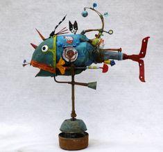 collas,poisson,assemblage,sculpture