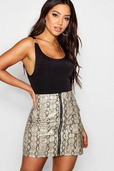 8c0abf1086 Snake Print Leather Look A Line Mini Skirt - boohoo