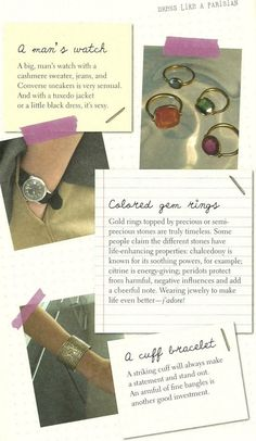 A big man's watch with a cashmere sweater, jeans and converse sneakers. Night: a big man's watch with a tuxedo jacket or a little black dress.
