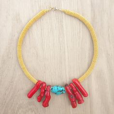 Coucou Suzette // Judith Necklace / turquoise & Coral necklace / gold statement necklace / Collier ethnique corail rouge Hippie chic necklace coral jewelry