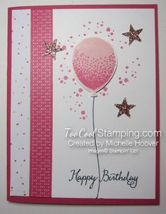 Shimmer Pink Balloon Celebration Birthday Card