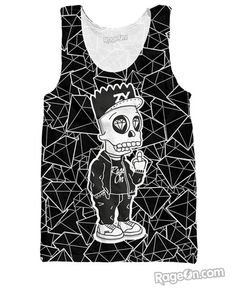 Bart Skull Simpson Black Tank Top - Rage On! - The World's Largest All-Over Print Online Retailer