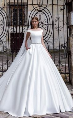 White Silk Off-the-Shoulder Ballgown Wedding Dress
