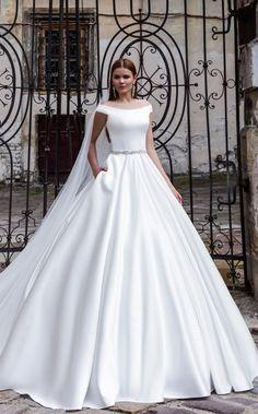White Silk Off-the-Shoulder Ballgown Wedding Dress