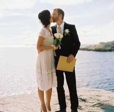 Swedish Wedding By The Sea... Love her dress