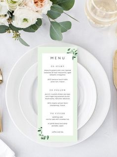 Greenery Wedding Menu Wedding Menu Template Eucalyptus Menu