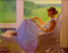 Afternoon reading In the purple chair In the garden, reading In the garden with sunflowers In the frontyard On the. Reading Art, Woman Reading, Children Reading, Woman Painting, Figure Painting, Wedding Dress Illustrations, Blue Stockings, Purple Painting, Colors And Emotions