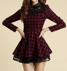 nice Fashion Lattice Red Long Sleeve Dre.. by http://www.newfashiontrends.pw/kawaii-fashion/fashion-lattice-red-long-sleeve-dre/