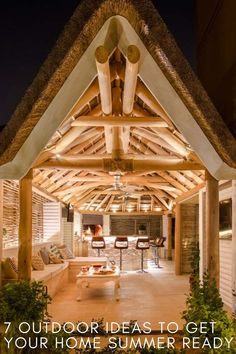 Whether you love to entertain friends and family or simply enjoy relaxing in a peaceful, private space, here are 7 outdoor ideas to help you make the most of the summer! Outdoor Gazebos, Outdoor Seating, Outdoor Dining, Outdoor Structures, Outdoor Living Rooms, Outdoor Spaces, Outdoor Kitchens, Living Spaces, Built In Braai