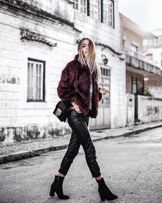 Leather trousers and dark red Faux fur jacket