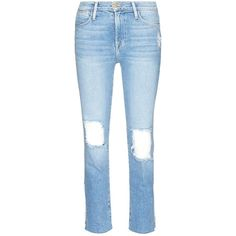 Frame Denim 'Le High Straight' ripped jeans (1485860 PYG) ❤ liked on Polyvore featuring jeans, blue, destructed jeans, blue distressed jeans, blue ripped jeans, cropped ripped jeans and blue jeans