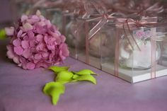 Our favour... Ikea spice jars with confetti and marshmallows... handmade by me!