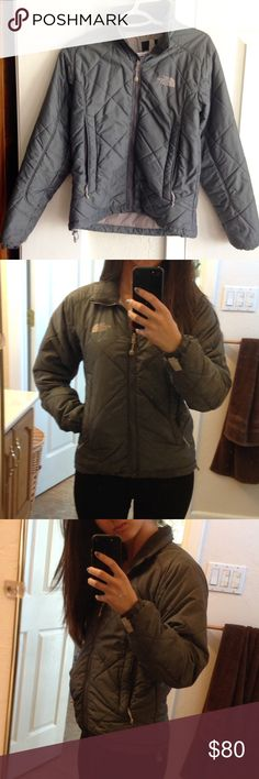 """Gray North Face jacket Gently used jacket in wonderful condition! Gray quilted pattern. Zippered pockets: 2 external, 1 internal. Drawstring cord at hem to hold in heat. Fleece lined neck. Has red stain on inside, but does not show externally and has no structural damage. Bought used but never wore it because I own another one. Sleeve length: 24"""". Length: 22.5"""". ❌No Trades❌ North Face Jackets & Coats Puffers"""