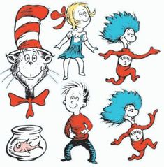 This Decoration Kit contains one folded sheet of die-cut, full color illustrations of the Dr Seuss characters, including The Cat in the Hat, Thing Thing 2 and more! They can be used to decorate windows or bulletin boards, or to create a memora Dr. Seuss, Classroom Displays, Classroom Themes, Dr Seuss Printables, Cat In The Hat Party, Theodor Seuss Geisel, Dr Seuss Birthday, 2nd Birthday, Gatos