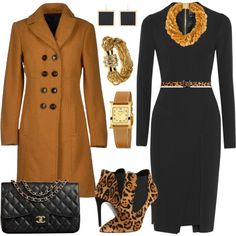 A fashion look from January 2015 featuring Roland Mouret dresses, Route des Garden coats and Ralph Lauren Collection ankle booties. Browse and shop related loo…
