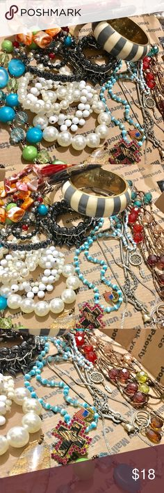 Costume jewerly bundle fashion vintage jewelry Costume jewelry bundle item full color beads jewelry earring necklace bracelet ... gold silver tone. All wearable (2246) ☘️ #bundle jewelry #fashion jewelry #Random charm for jewelry make #beads jewelry# #vintage jewelry #rhinestone jewelry #crystal jewelry #gold jewelry #silver jewelry #jewelry sets #accessories # ☘️ $18 Jewelry Necklaces