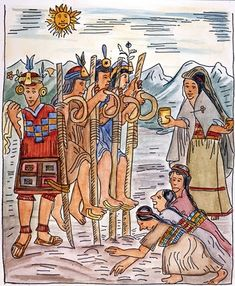 """Incas. """"El trabajo de la tierra"""". Ilustración de Felipe Guamán Poma de Ayala."""