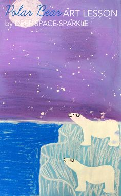 The booklet features three art lessons: Pastel Polar Bears Painted Winter Barns Winter Moose Collage Deep Space Sparkle, Winter Art Projects, School Art Projects, January Art, First Grade Art, Bear Art, Art Classroom, Classroom Ideas, Art Lesson Plans