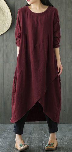 UP TO 48% OFF! Vintage Pure Color Irregular Cross Wrap Long Sleeve Women Dresses. SHOP NOW!
