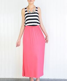 This éloges Coral & Black Stripe Tiered Maxi Dress by éloges is perfect! #zulilyfinds