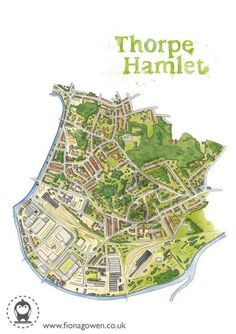 High quality, signed digital print of my original watercolour illustrated map of Thorpe Hamlet - a lovely part of Norwich, Norfolk. Digital print - Frame not included Walter Foster, Freelance Graphic Design, The Fosters, Book Art, Digital Prints, City Photo, Doodles, Etsy Shop, Doodle