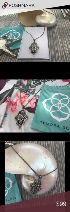 NWT Kendra Scott Rene adjustable Rhodium Necklace Stunning silver Rhodium with Crystals Necklace. WithKendra's uniquely designed  movable clasp you can wear with a turtleneck, blouse, suit or evening gown!💃👗👠 Kendra Scott Jewelry Necklaces