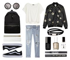 """#Street Style: Fall Jacket for School"" by sandycyh ❤ liked on Polyvore featuring rag & bone/JEAN, Zoe Karssen, H&M, McQ by Alexander McQueen, The Row, Yves Saint Laurent, Vans, Kate Spade, Topshop and Essie"