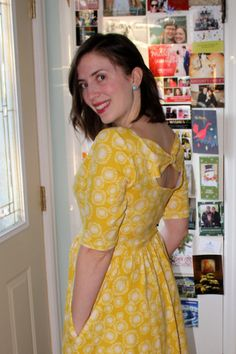 Yellow Colette Patterns Moneta Dress with modified bow back  | Frippery and Curiosities