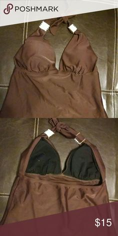 "Tankini top Very cute dark brown tankini top with pretty white ""ivory look"" detail on straps Apt. 9 Swim Bikinis"