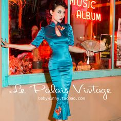 Le Palais Vintage 2016 Spring New High Waist Short Sleeve Blue Chineses…