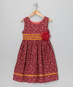 As sweet as a cherry-topped sundae, this darling dress boasts all-cotton construction and a classic silhouette. With a handy zipper in the back, velvety stripe accents and a flower accent at the waist, it'll become a fast favorite of grown-ups and little ones alike.