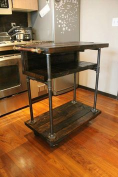 Recycled Pallet And Iron Pipe Kitchen Cart
