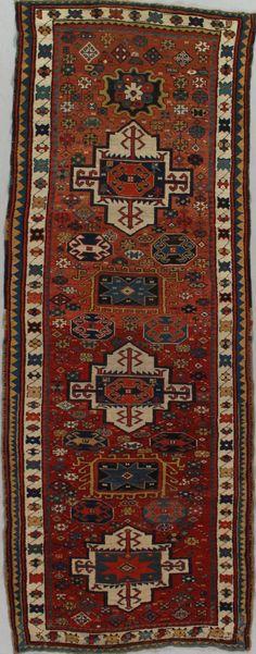Antique Kazak Runner –  Circa:1880 Sizes:3.10X10.3