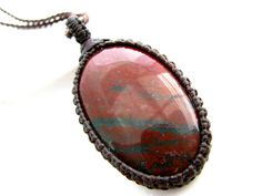 Bloodstone Necklace / Indian Bloodstone / May finds / jewelry / Healing Gemstone Jewelry / March birthstone / Healing gift / Macrame