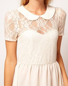 Lace Dress with Peterpan Collar, perfect for a whimsical bride's rehearsal dinner.