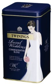 Royal Wedding tea from Twinings: come in blue or black caddy. I think blue is nicer (just like one of Kate's dresses!). It's a white Earl Grey with light flavours of rose petal. Just as elegant as Kate!