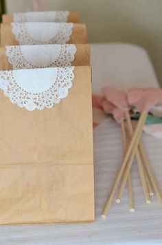Brown Paper Bags and Doily! So simple! So beautiful!