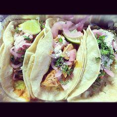 Divine Chicken tacos from Oaxaca Taqueria on Greenwich Avenue in New York City's West Village. Via Twitter: @schreiltalk