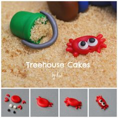 How to create a Sand Crab & Pail topper using Satin Ice Fondant Fondant Wedding Cakes, Fondant Cake Toppers, Fondant Cupcakes, Cupcake Toppers, Cake Topper Tutorial, Fondant Tutorial, Crab Birthday Cakes, Crab Cupcakes, Sea Party Food