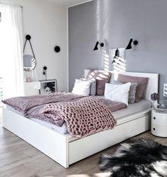 New trend modern Bedroom Design Ideas for 2020 Part 1 ; bedroom design ins Bedroom Themes, Bedroom Sets, Home Bedroom, Bedroom Styles, Bedroom Ideas Grey, Grey Wall Bedroom, Bedroom Girls, Copper Bedroom, Purple Gray Bedroom