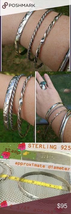 "✨3 Silver Bangle Bracelets✨ See first photo, the three bangles closest to my hand. Two are twisted/braided silver and thinner (unstamped) , the other one is thicker with star and crescent moon shapes. All clean and polish well with my silver cream,  the thicker one is stamped ""STERLING 925"". They weigh just under 38 grams. Look great together!! I would suggest these for a larger wrist, approximate diameter of each is  2 3/4"" across.  Price listed is for all three together. Vintage Jewelry…"