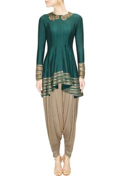 Teal blue floral sequins embroidered high low kurta with dhoti pants - Ridhima Bhasin
