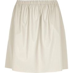 Grey leather-look ruched skirt  #riverisland