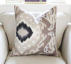 "20"" Schumacher Kiribati Ikat Pillow Cover in Linen on Etsy, $70.00"