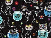 black cat fish skeleton flower fabric by Timeless Treasures - Kawaii Fabric Shop Michael Miller, Skeleton Flower, Cat Skeleton, Halloween Stoff, Halloween Fabric, Samhain, Kawaii, Tableau Pop Art, Sugar Skull Cat