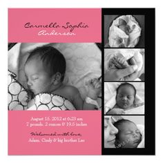Modern Photo Birth Announcement! Make your own invites more personal to celebrate the arrival of a new baby. Just add your photos and words to this great design.