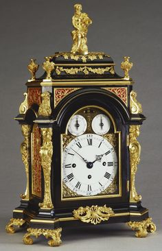 Bracket clock, 1765, François-Justin Vulliamy (1712-98) Ebony veneered oak case with gilt bronze mounts and enamel dial, blued steel hands | 47.4 x 29.0 x 22.0 cm