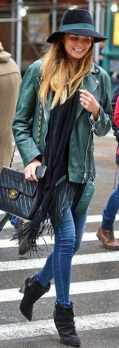 Chrissy Teigen, green leather jacket