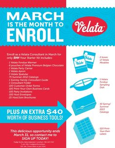Enroll to be a Velata Consultant in March and you will receive an extra 40 dollars in starter kit contents!! Start here: http://madilynboothe.scentsy.us then click JOIN, choose me as your sponsor, and then choose Velata as the brand you want to sell! Call with any questions! (316) 640-0412