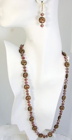 Vintage purple and gold Czech coin bead with by maryjanebowen, $49.00